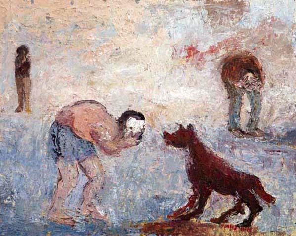 een wandelaar en verbaasde hondond