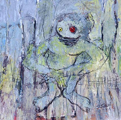 Een monster wacht op zang van de vogel